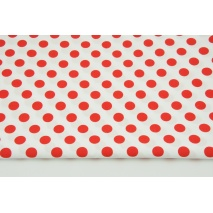 Cotton 100% red 13mm dots on a white background CZ