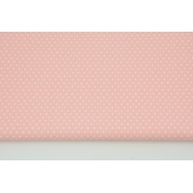 Cotton 100% mini white dots on a coral background CZ