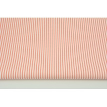 Cotton 100% white-salmon stripes 2x3mm CZ
