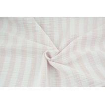 Double gauze 100% cotton 15mm stripes white-pink II quality