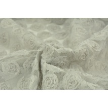 Soft tulle with roses 3D, gray-beige