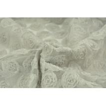 Tiul miękki w róże 3D, szarobeżowy