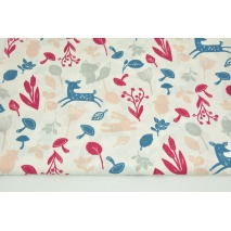 Cotton 100% little colorful forest animals on a white background