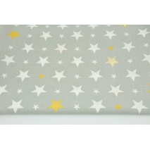 Cotton 100% white, mustard stars on a light gray background CZ