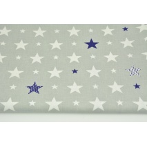 Bawełna 100% gwiazdki białe, granatowe na jasnoszarym tle CZ