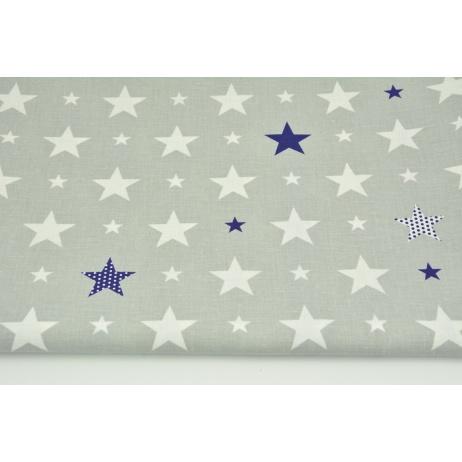 Cotton 100% white, navy stars on a light gray background CZ