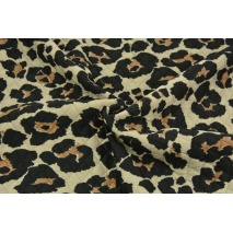 Quilted jersey, panther print on a beige background