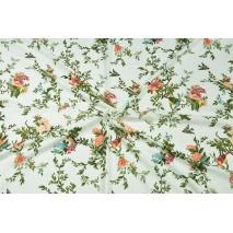 Bawełna z wiskozą, kwiaty i ptaszki na białym tle