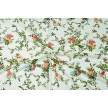 Cotton with viscose, flowers and birds on a white background