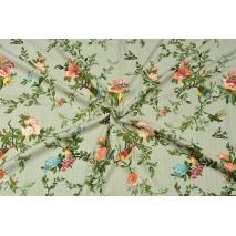 Bawełna z wiskozą, kwiaty i ptaszki na lnianym tle