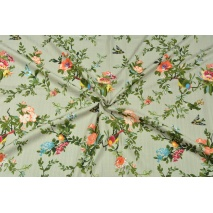 Cotton with viscose, flowers and birds on a linen background
