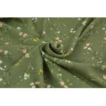 Viscose 100% khaki with field flowers