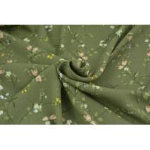 Wiskoza 100% khaki w polne kwiatki