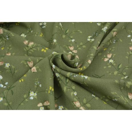 Viscose 100% khaki with field flowers