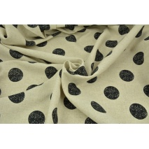Viscose with linen, large wiped black dots on a linen background
