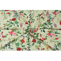 Viscose with linen, large field flowers on a natural background
