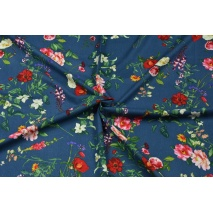 Viscose with linen, large field flowers on a navy background