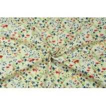 Viscose with linen, colorful field flowers on a beige background