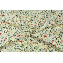 Wiskoza z lnem, kolorowe polne kwiatki na kremowym tle