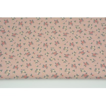 Cotton 100% flowers on a dirty pink background, poplin