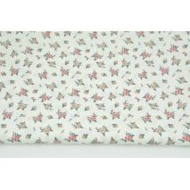 Cotton 100% flowers on a white background, poplin