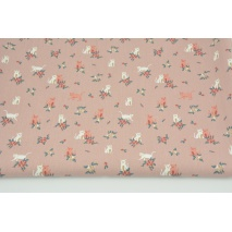 Cotton 100% cats, flowers on a dirty pink background, poplin