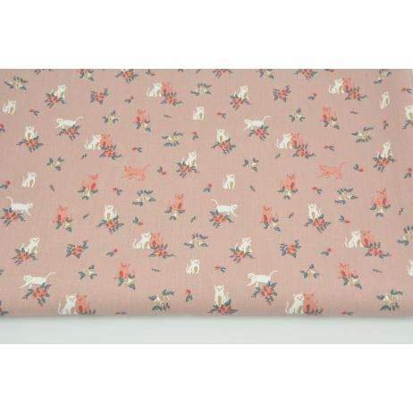 Bawełna 100% kotki, kwiatki na brudnym różu, popelina