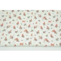 Bawełna 100% kotki, kwiatki na białym tle, popelina