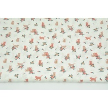 Cotton 100% cats, flowers on a white background, poplin