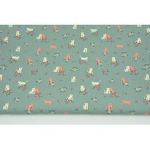 Cotton 100% flowers on a sage background, poplin