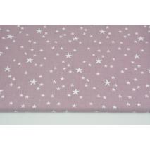 Bawełna 100% nieregularne gwiazdki białe na wrzosowym tle