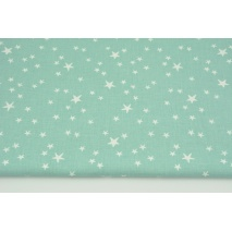 Cotton 100% irregular white stars on a sage background