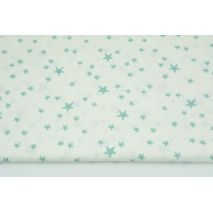 Cotton 100% irregular sage stars on a white background