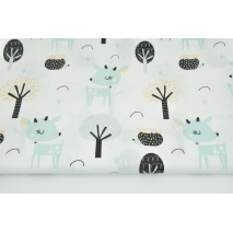 Cotton 100% mint deers in the forest on a white background