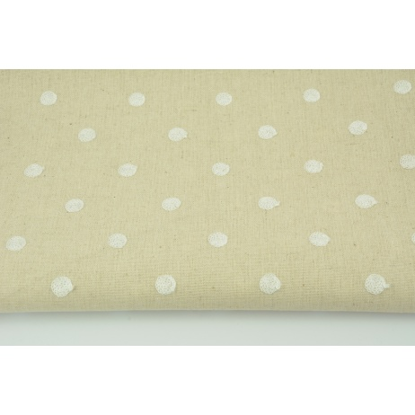 Viscose with linen embroidered with dots, beige
