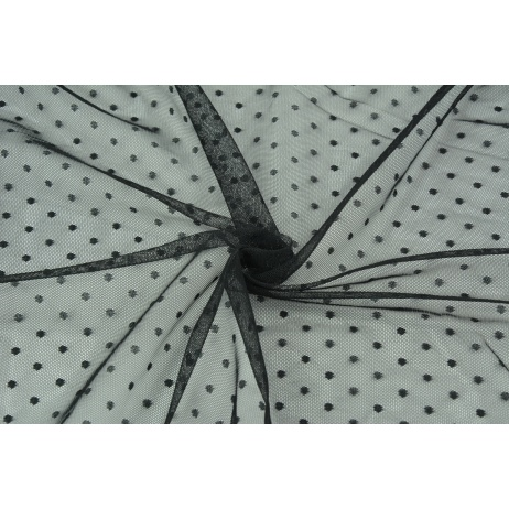 Soft tulle with small dots, black