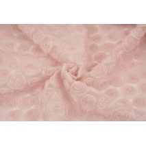 Soft tulle with roses 3D, powder dirty pink