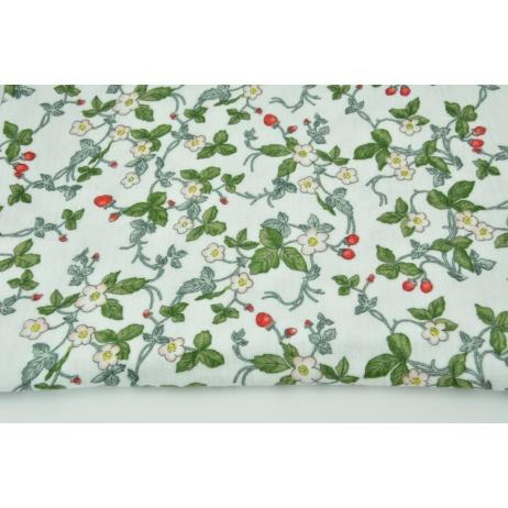 Double gauze 100% cotton, wild strawberries on a white background