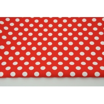 Cotton 100% white 12mm dots on a red background CZ