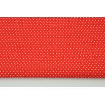 Bawełna 100% mini kropeczki białe na czerwonym tle CZ