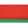 Cotton 100% mini white dots on a red background CZ