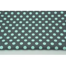 Bawełna 100% turkusowe kropki 12mm na grafitowym tle CZ