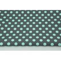 Cotton 100% turquoise 12mm dots on a graphite background CZ