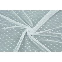 Soft tulle with small dots, white