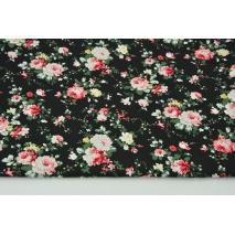 Bawełna 100% kwiaty na czarnym tle, popelina