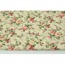 Bawełna 100% kwiaty na kremowym tle, popelina