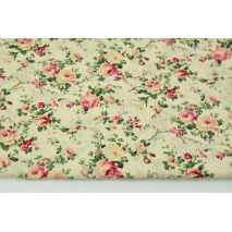 Cotton 100% flowers on a cream background, poplin