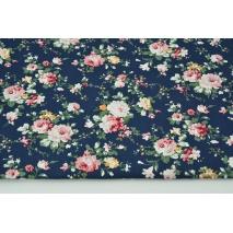 Bawełna 100% kwiaty na granatowym tle, popelina