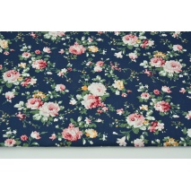 Cotton 100% flowers on navy blue background, poplin
