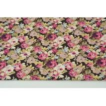 Bawełna 100% burgundowo- beżowe kwiaty na brązowym tle, popelina